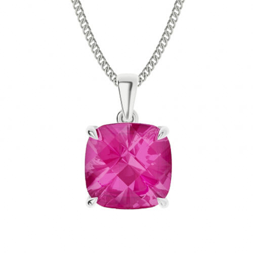 Pink Sapphire Sterling Silver Necklace