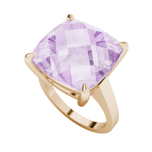 Cushion Checkerboard Pink Amethyst Ring 9ct Rose Gold