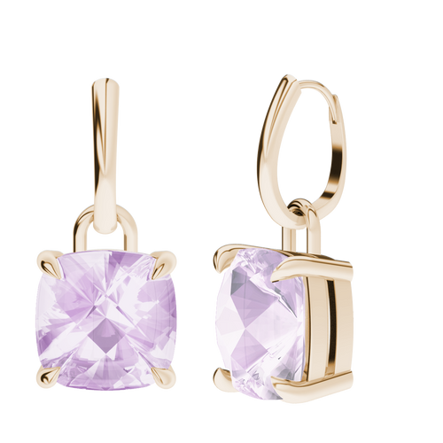 Pink Amethyst 9ct Yellow Gold Drop Earrings