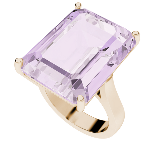 Emerald Cut Pink Amethyst 9ct Rose Gold Gemstone Cocktail Ring