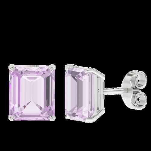 Pink Amethyst Emerald Cut Sterling Silver Stud Earrings