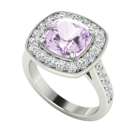 Cushion Diamond Halo Ring with Pink Amethyst 18ct White Gold