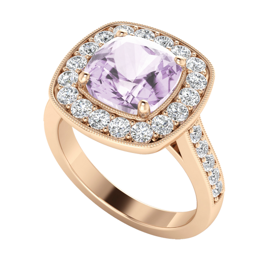 Cushion Diamond Halo Ring with Pink Amethyst 18ct Rose Gold