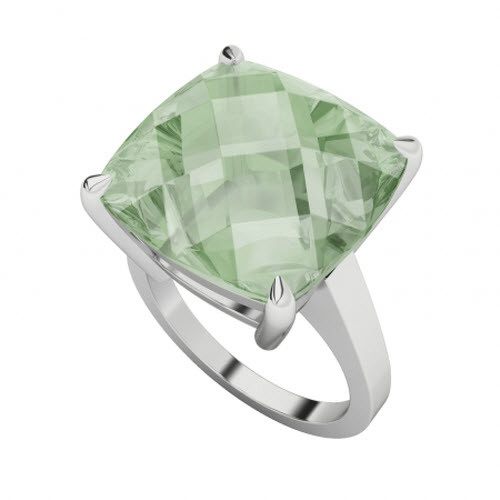 Cushion Checkerboard Green Amethyst Sterling Silver Ring