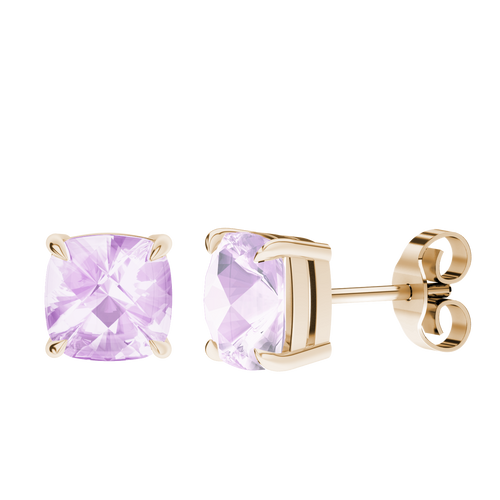 Pink Amethyst 9ct Yellow Gold Checkerboard Stud Earrings