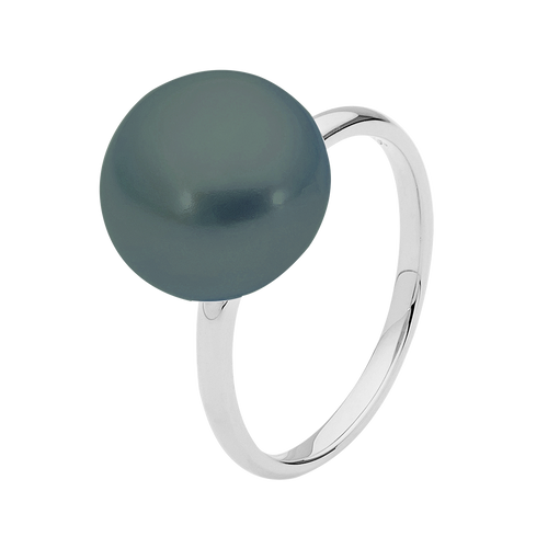 9ct White Gold Black Button Pearl Ring