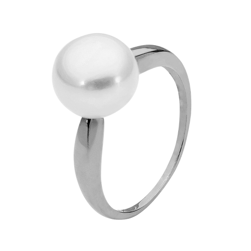 9ct White Gold 9mm White Button Pearl Ring