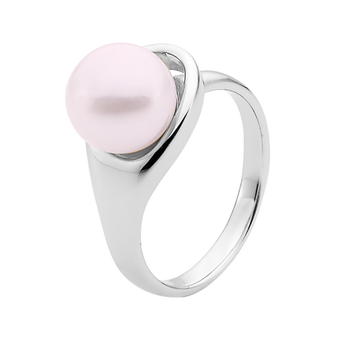 9ct White Gold Pink Pearl Ring