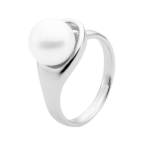 9ct White Gold White Pearl Ring