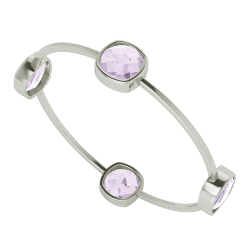 Four Stone Cushion Pink Amethyst Silver Bangle