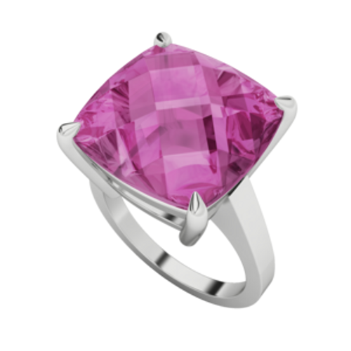 Cushion Checkerboard Pink Sapphire Cocktail Ring 9ct White Gold