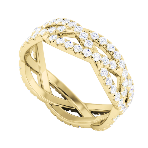 Diamond Woven Ring (Full) 9 Carat Yellow Gold