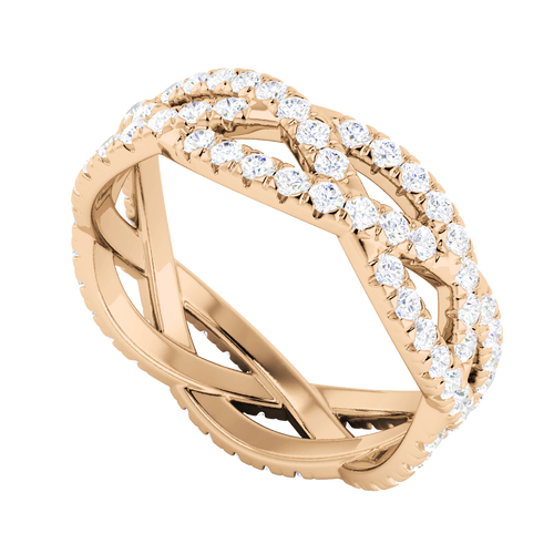 Diamond Woven Ring (Full) 9 Carat Rose Gold