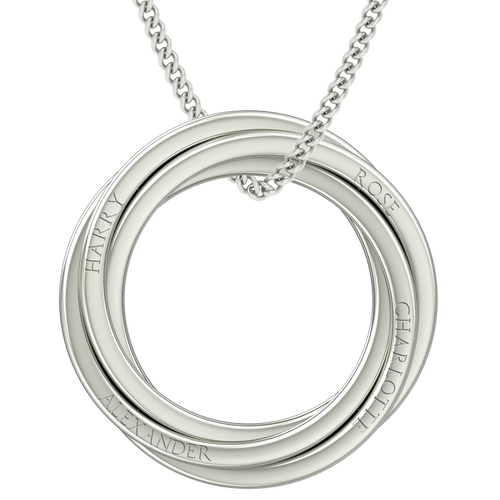 Russian Rings Necklace - the 'Catherine' - Platinum