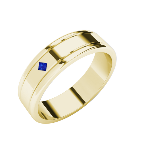 Sapphire Men's Wedding Ring - 9ct Yellow Gold