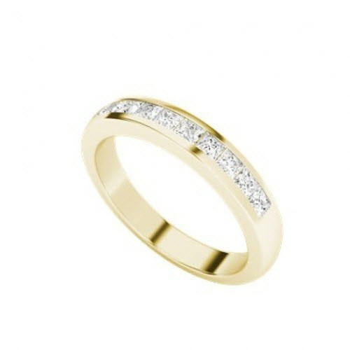 Princess Cut Diamond Wedding Eternity Ring 9ct Yellow Gold
