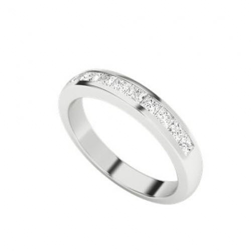 Princess Cut Diamond Wedding Eternity Ring 9ct White Gold