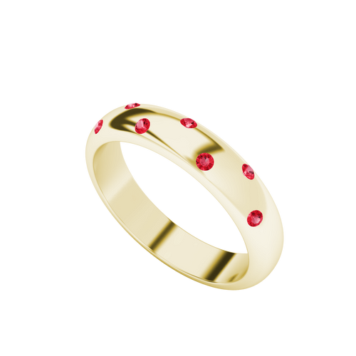 Ruby Domed Ring 9ct Yellow Gold