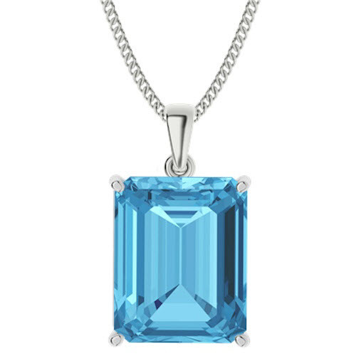 Emerald Cut Blue Topaz Sterling Silver Necklace