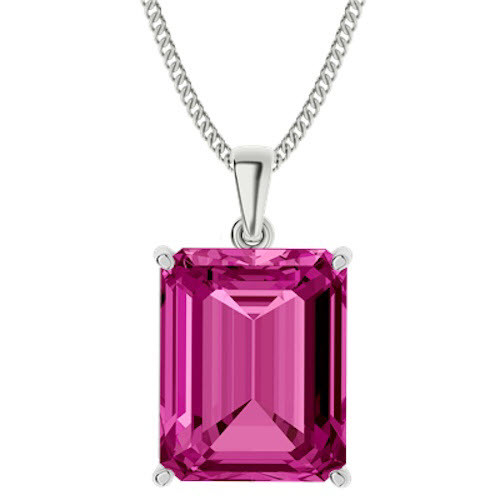 Emerald Cut Pink Sapphire Sterling Silver Necklace