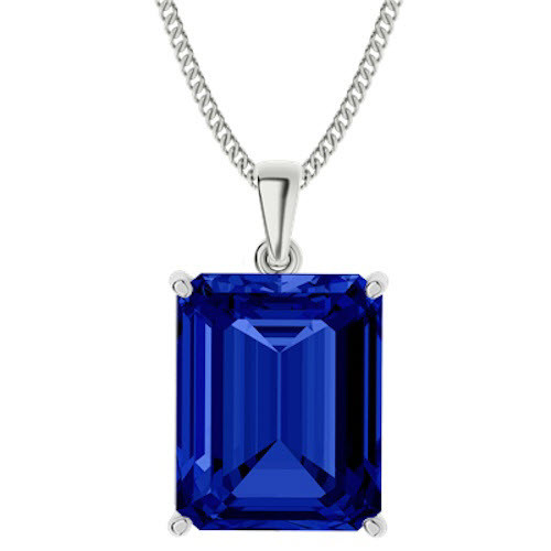Emerald Cut Blue Sapphire Sterling Silver Necklace