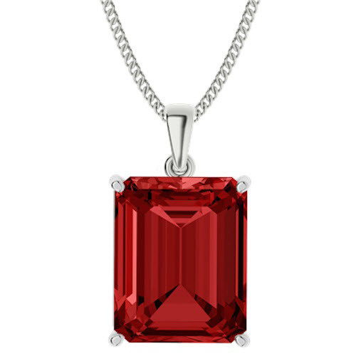 Emerald Cut Ruby Sterling Silver Necklace