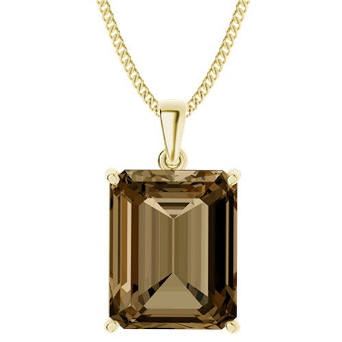 Emerald Cut Smoky Quartz Pendant Yellow Gold Plate