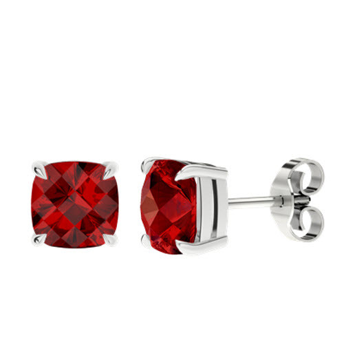 Ruby Cushion Checkerboard Silver Stud Earrings