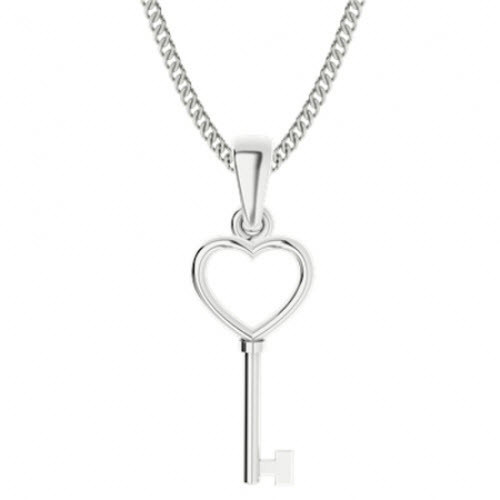 Sterling Silver Key Heart Pendant