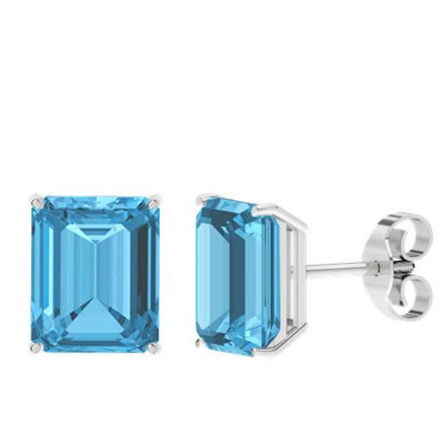 Blue Topaz Emerald Cut Sterling Silver Stud Earrings