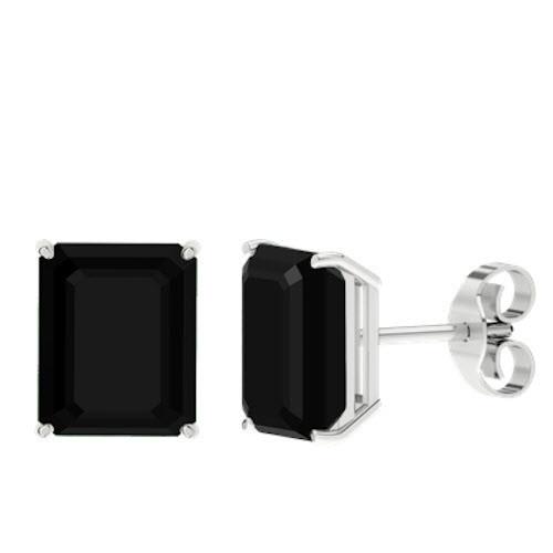 Onyx Emerald Cut Sterling Silver Stud Earrings