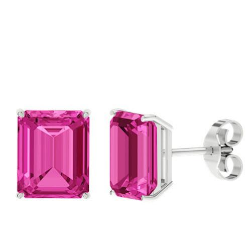 Pink Sapphire Emerald Cut Sterling Silver Stud Earrings