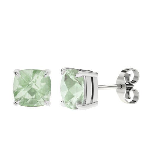Green Amethyst Silver Checkerboard Stud Earrings
