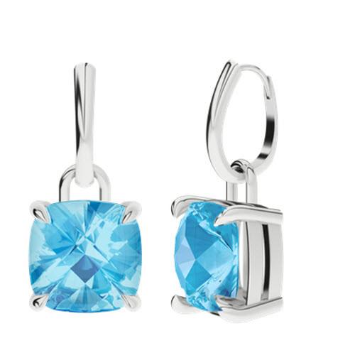 Blue Topaz Silver Checkerboard Drop Earrings
