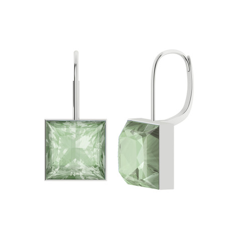 Princess Cut Green Amethyst Silver Drop Earrings