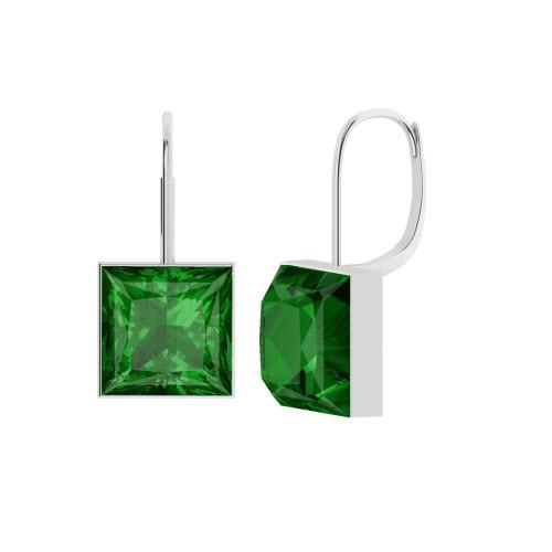 Princess Cut Emerald Silver Drop Earrings