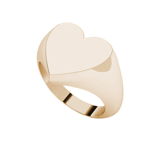 9 carat Rose Gold Heart Signet Ring