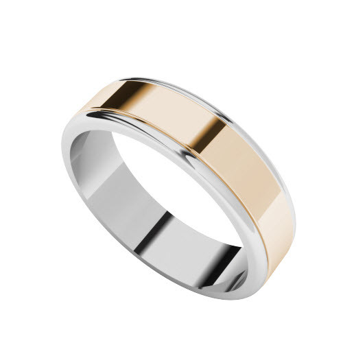 Two-Tone Wedding Ring - 9ct Rose Gold with White Gold