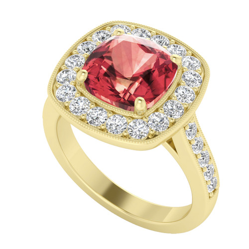 Yellow Gold Rose Malaya Cushion Garnet Diamond Halo Ring