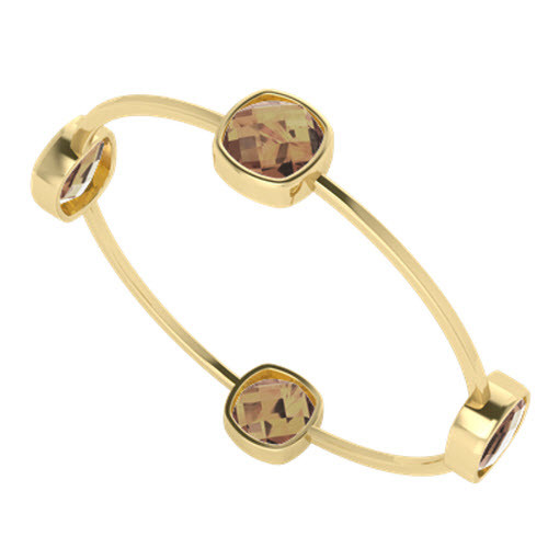 Four Stone Cushion Smoky Quartz Bangle Yellow Gold