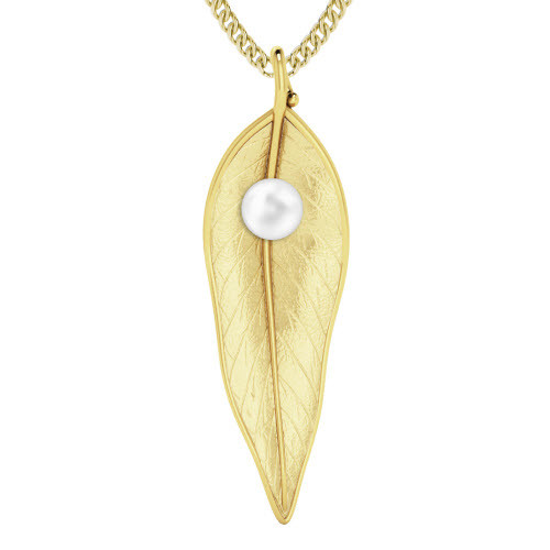 Terre-Et-Mer Leaf & Pearl Necklace Yellow Gold