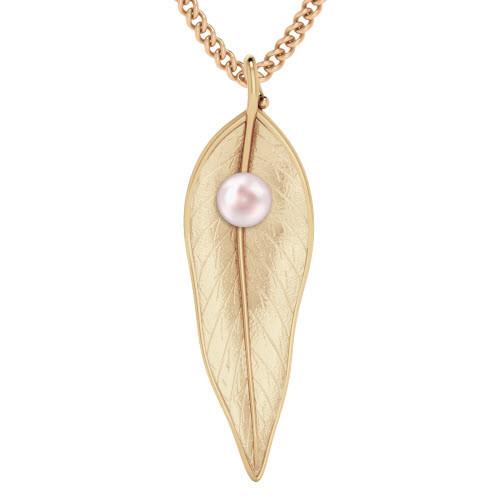 Terre-Et-Mer Leaf & Pearl Necklace Rose Goldplate