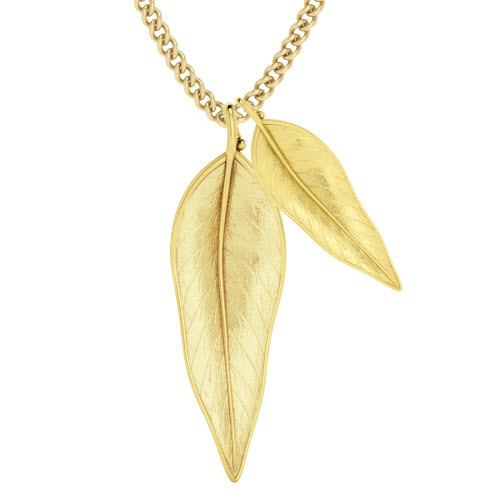 Terre-Et-Mer Two Leaf Necklace Yellow Goldplate