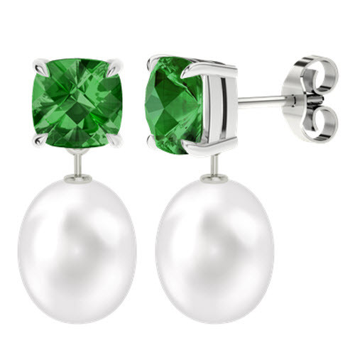 Emerald Cushion Checkerboard Studs with Drop Pearl - 9ct White Gold