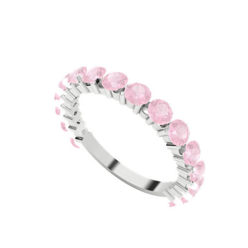 Brilliant Cut Pink Sapphire 9ct White Gold Wedding Ring