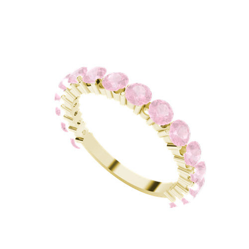 Brilliant Cut Pink Sapphire 9ct Yellow Gold Wedding Ring