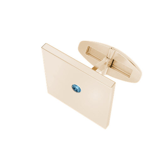 Square Rose Goldplate Cufflinks with Aquamarine Birthstone