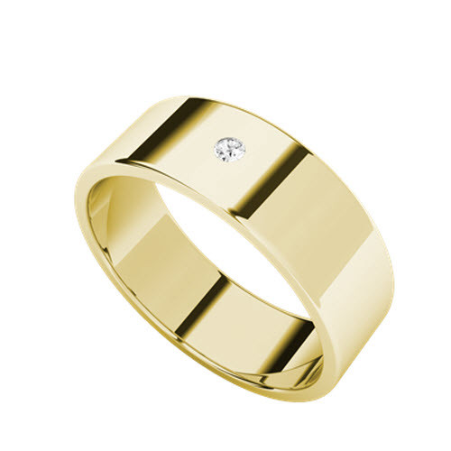 Round Brilliant Cut Diamond Wedding Ring 9ct Yellow Gold