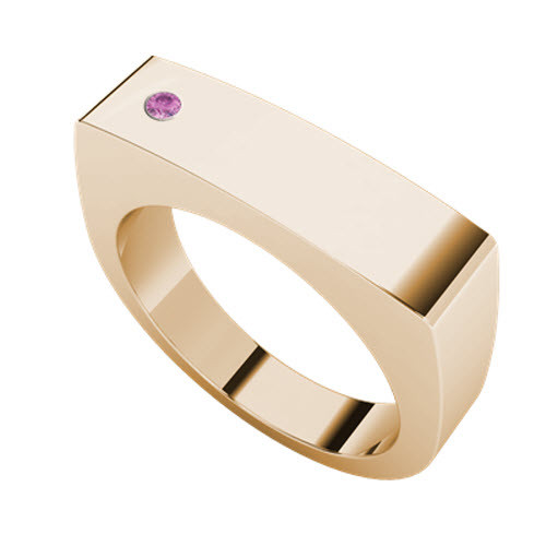 Signet Rose Goldplate Ring Rectangular - Pink Tourmaline