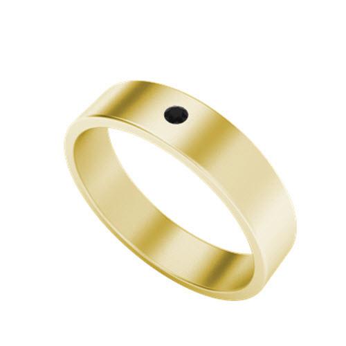 Black Diamond Wedding Ring (Yellow Gold)
